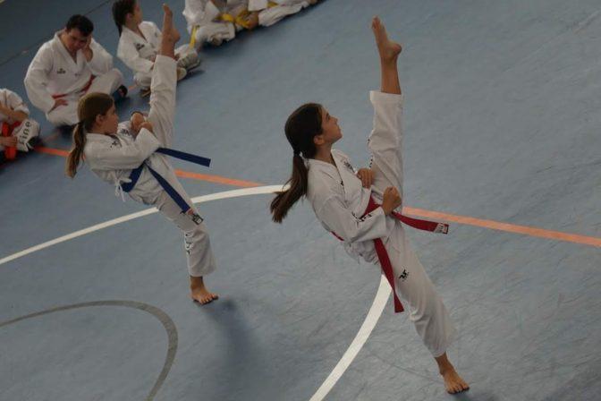 dos niñas taekwondistas en un tatami haciendo poomsae en competición